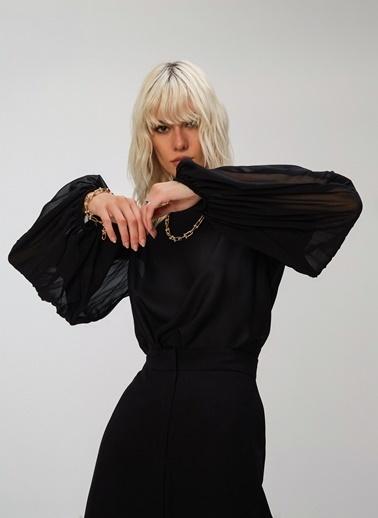 People By Fabrika Pilise Detaylı Bluz Siyah